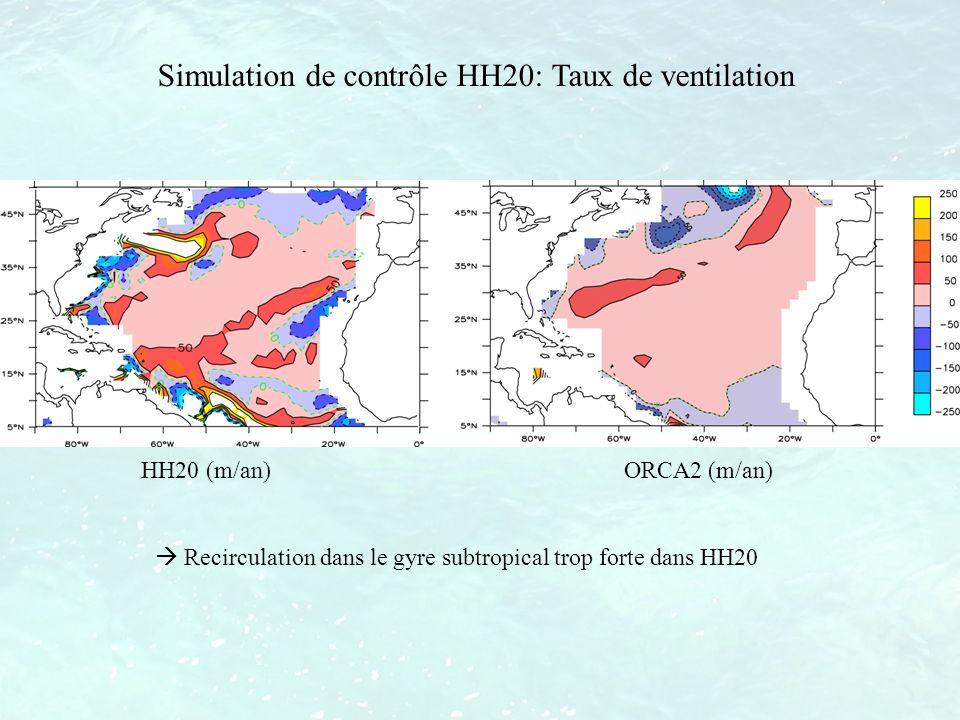 HH20 (m/an) ORCA2 (m/an) Recirculation dans le gyre subtropical trop forte dans HH20 Simulation de contrôle HH20: Taux de ventilation