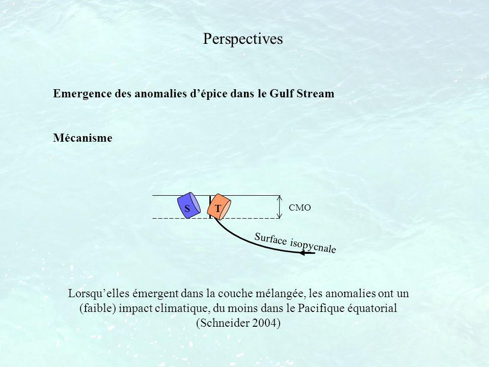Perspectives Emergence des anomalies dépice dans le Gulf Stream Mécanisme S T CMO Surface isopycnale Lorsquelles émergent dans la couche mélangée, les