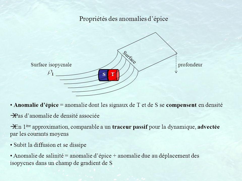 Anomalie dépice = anomalie dont les signaux de T et de S se compensent en densité Pas danomalie de densité associée En 1 ère approximation, comparable