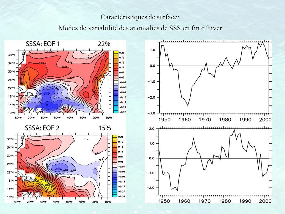Caractéristiques de surface: Modes de variabilité des anomalies de SSS en fin dhiver