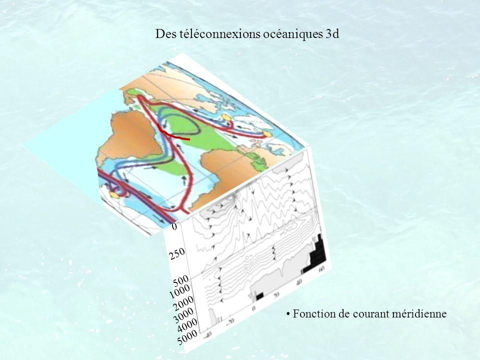 Les téléconnexions océaniques dans la thermocline par advection: Subtropiques Tropiques Interannuel à décennal Variabilités tropicale et équatoriale (Gu et Philander 1997) 0 250 500 1000 2000 3000 4000 5000
