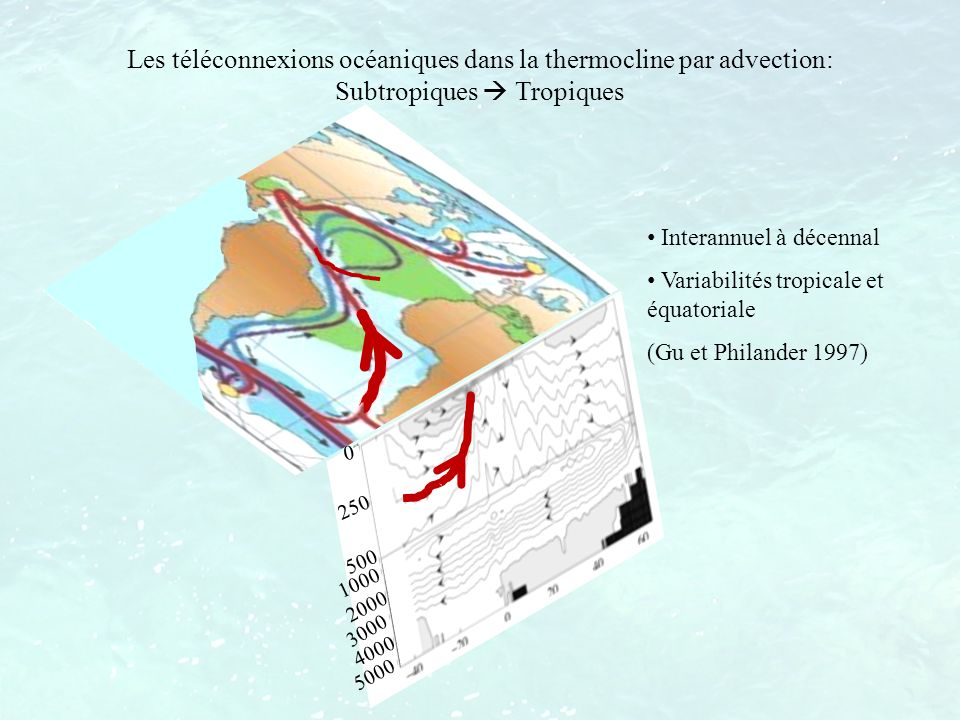 Mécanismes de génération dune anomalie isopycnale de salinité Modèle simple de subduction signaux de surface = signaux dans la thermocline Difficultés à relier surface et subsurface sur des surfaces isopycnales (Kessler 1999)