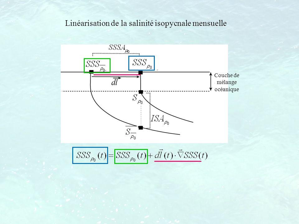 Linéarisation de la salinité isopycnale mensuelle Couche de mélange océanique