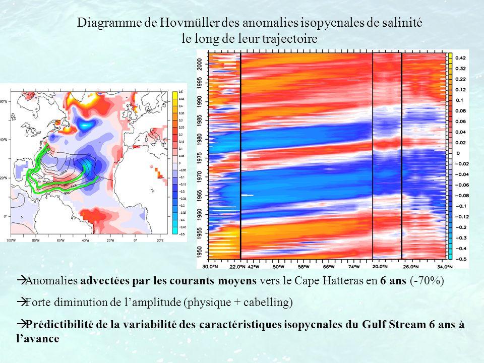 Diagramme de Hovmüller des anomalies isopycnales de salinité le long de leur trajectoire Anomalies advectées par les courants moyens vers le Cape Hatt