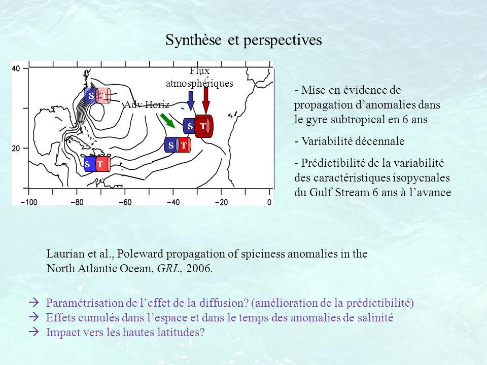 Synthèse et perspectives - Mise en évidence de propagation danomalies dans le gyre subtropical en 6 ans - Variabilité décennale - Prédictibilité de la