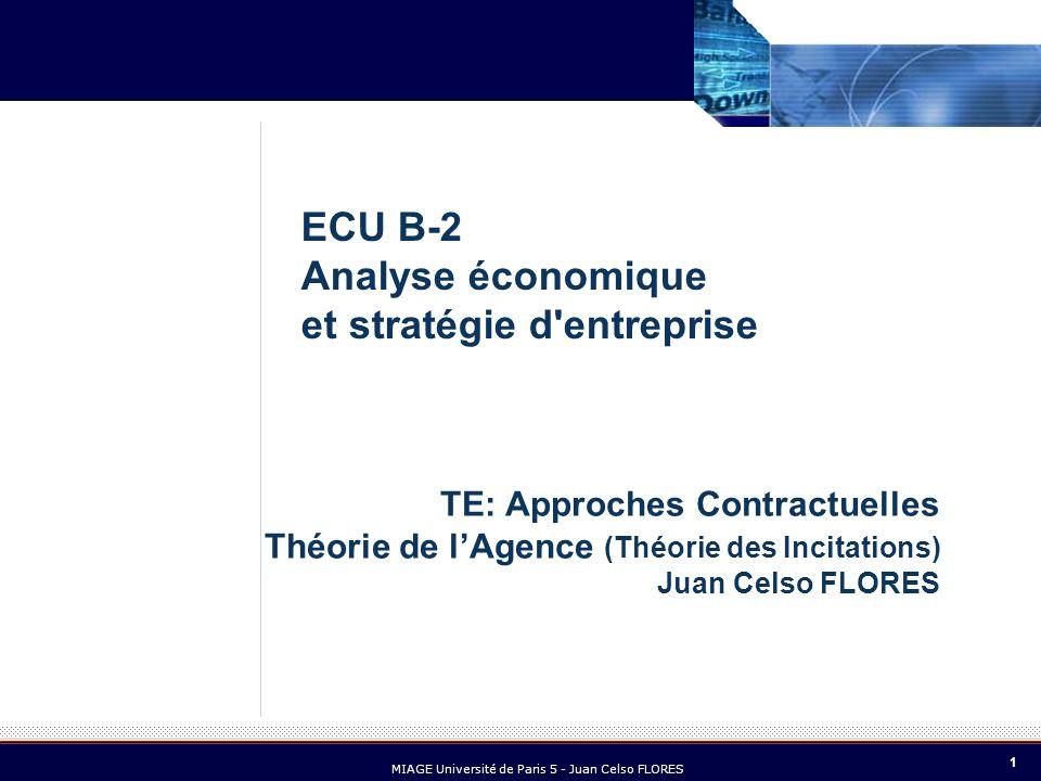 1 MIAGE Université de Paris 5 - Juan Celso FLORES TE: Approches Contractuelles Théorie de lAgence (Théorie des Incitations) Juan Celso FLORES ECU B-2