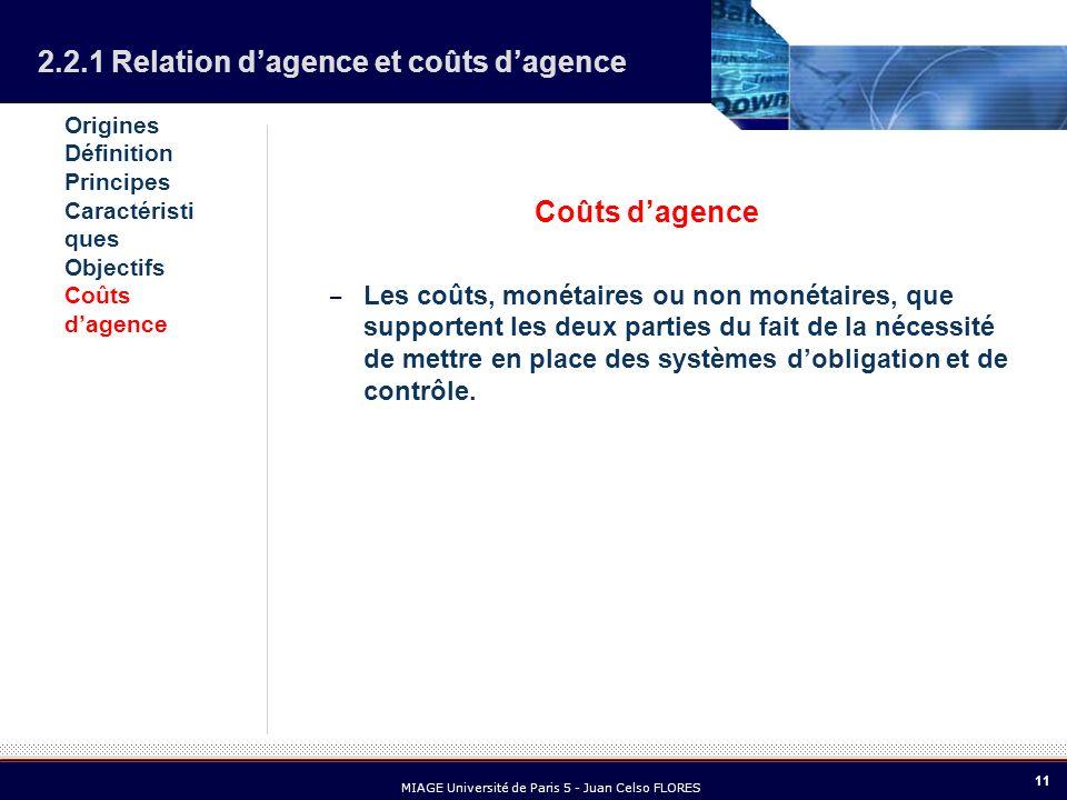 11 MIAGE Université de Paris 5 - Juan Celso FLORES Coûts dagence – Les coûts, monétaires ou non monétaires, que supportent les deux parties du fait de