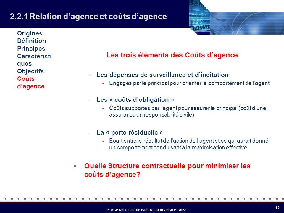 12 MIAGE Université de Paris 5 - Juan Celso FLORES Les trois éléments des Coûts dagence – Les dépenses de surveillance et dincitation Engagés par le p