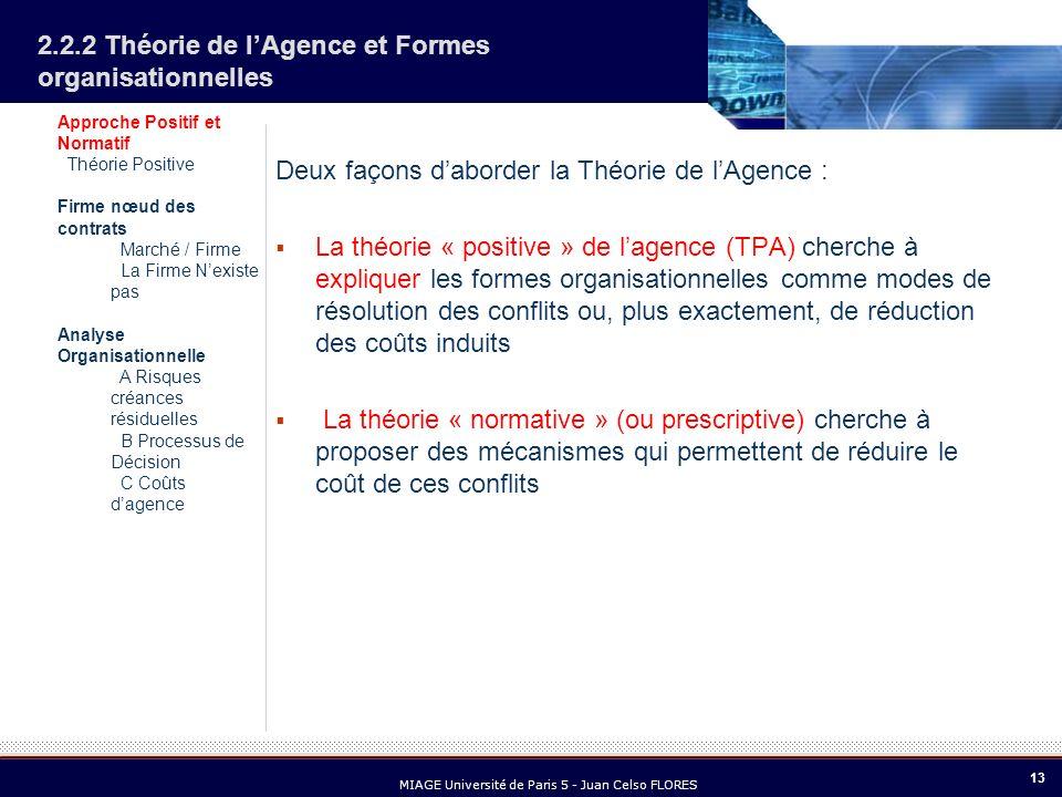 13 MIAGE Université de Paris 5 - Juan Celso FLORES 2.2.2 Théorie de lAgence et Formes organisationnelles Deux façons daborder la Théorie de lAgence :