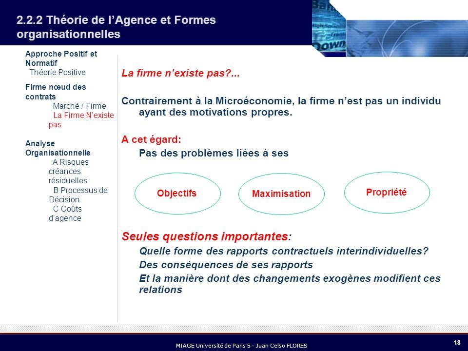 18 MIAGE Université de Paris 5 - Juan Celso FLORES 2.2.2 Théorie de lAgence et Formes organisationnelles La firme nexiste pas?... Contrairement à la M