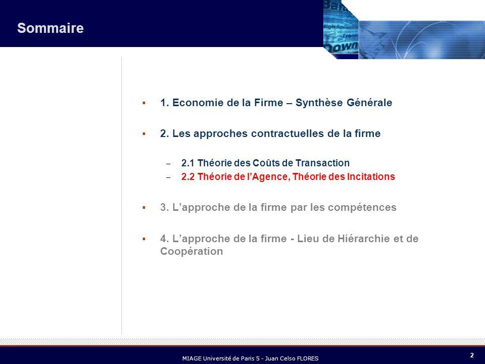 2 MIAGE Université de Paris 5 - Juan Celso FLORES Sommaire 1. Economie de la Firme – Synthèse Générale 2. Les approches contractuelles de la firme – 2
