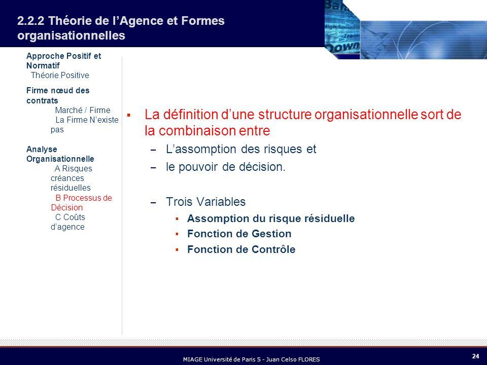 24 MIAGE Université de Paris 5 - Juan Celso FLORES 2.2.2 Théorie de lAgence et Formes organisationnelles La définition dune structure organisationnell