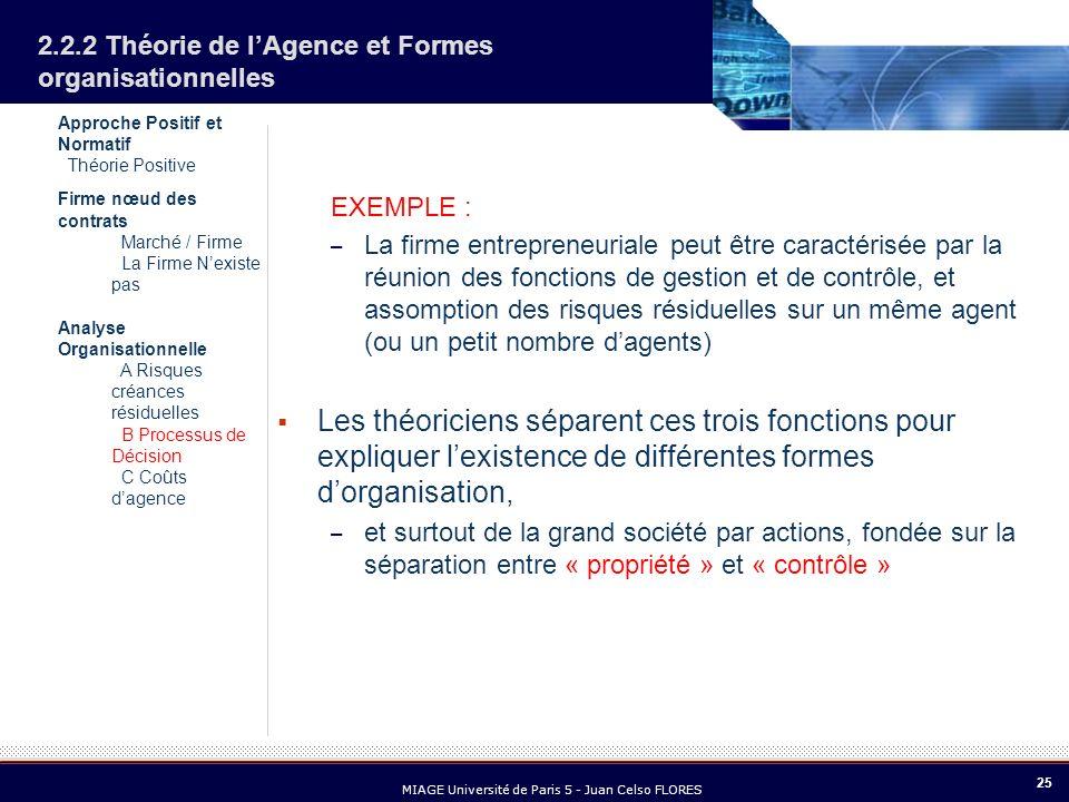 25 MIAGE Université de Paris 5 - Juan Celso FLORES 2.2.2 Théorie de lAgence et Formes organisationnelles EXEMPLE : – La firme entrepreneuriale peut êt