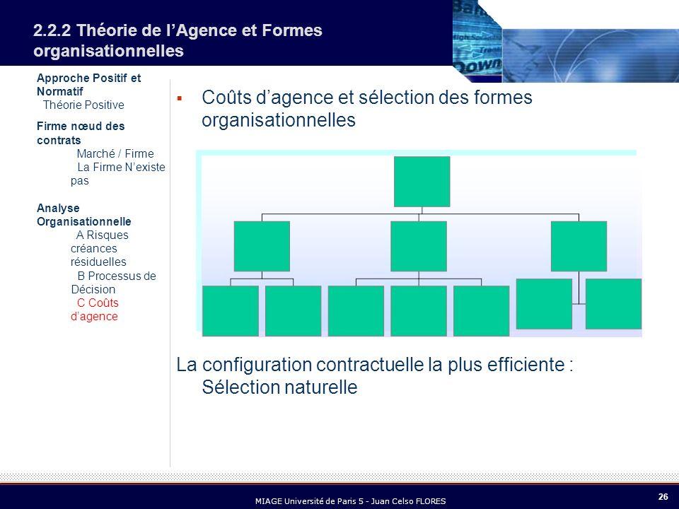 26 MIAGE Université de Paris 5 - Juan Celso FLORES Approche Positif et Normatif Théorie Positive Firme nœud des contrats Marché / Firme La Firme Nexis