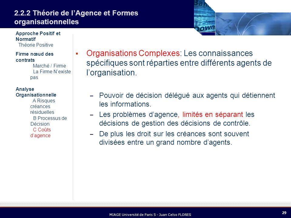 29 MIAGE Université de Paris 5 - Juan Celso FLORES Approche Positif et Normatif Théorie Positive Firme nœud des contrats Marché / Firme La Firme Nexis