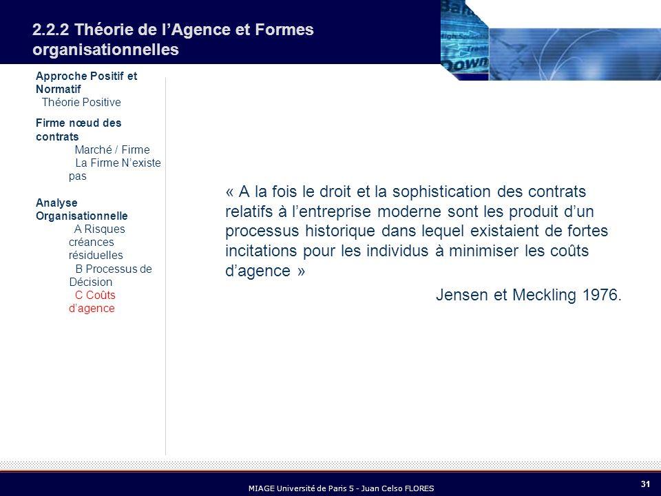31 MIAGE Université de Paris 5 - Juan Celso FLORES Approche Positif et Normatif Théorie Positive Firme nœud des contrats Marché / Firme La Firme Nexis