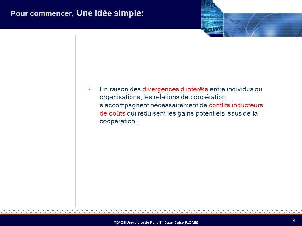 4 MIAGE Université de Paris 5 - Juan Celso FLORES Pour commencer, Une idée simple: En raison des divergences dintérêts entre individus ou organisation
