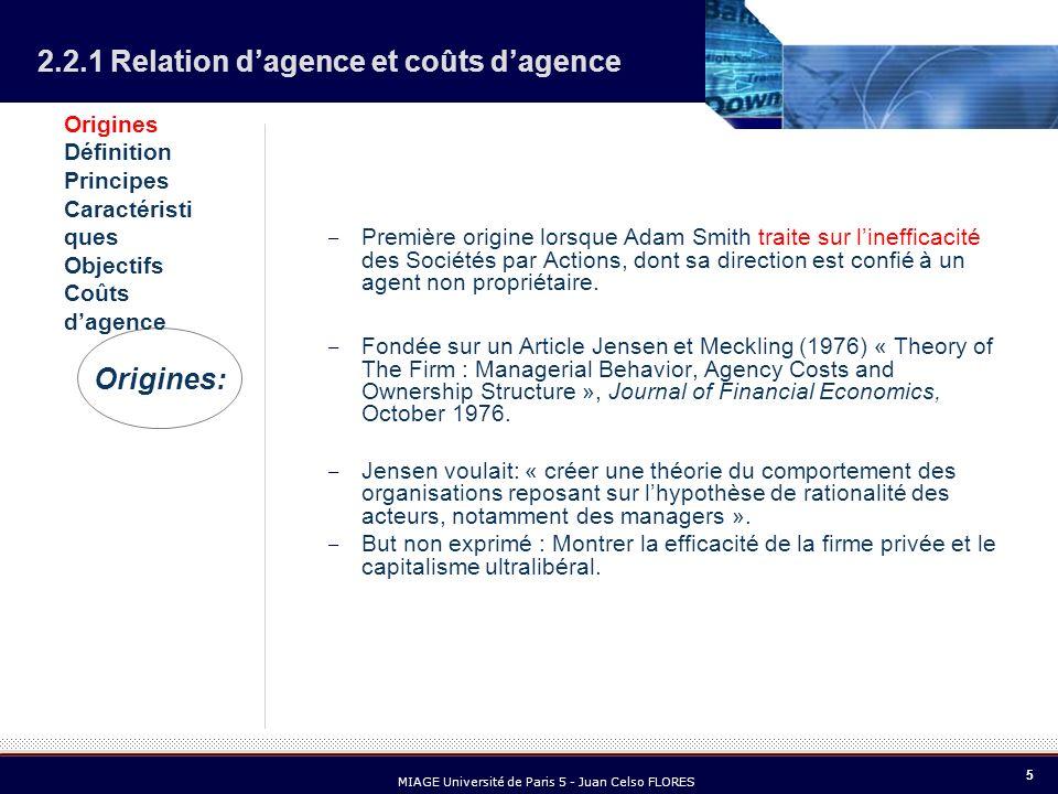 5 MIAGE Université de Paris 5 - Juan Celso FLORES 2.2.1 Relation dagence et coûts dagence – Première origine lorsque Adam Smith traite sur linefficaci