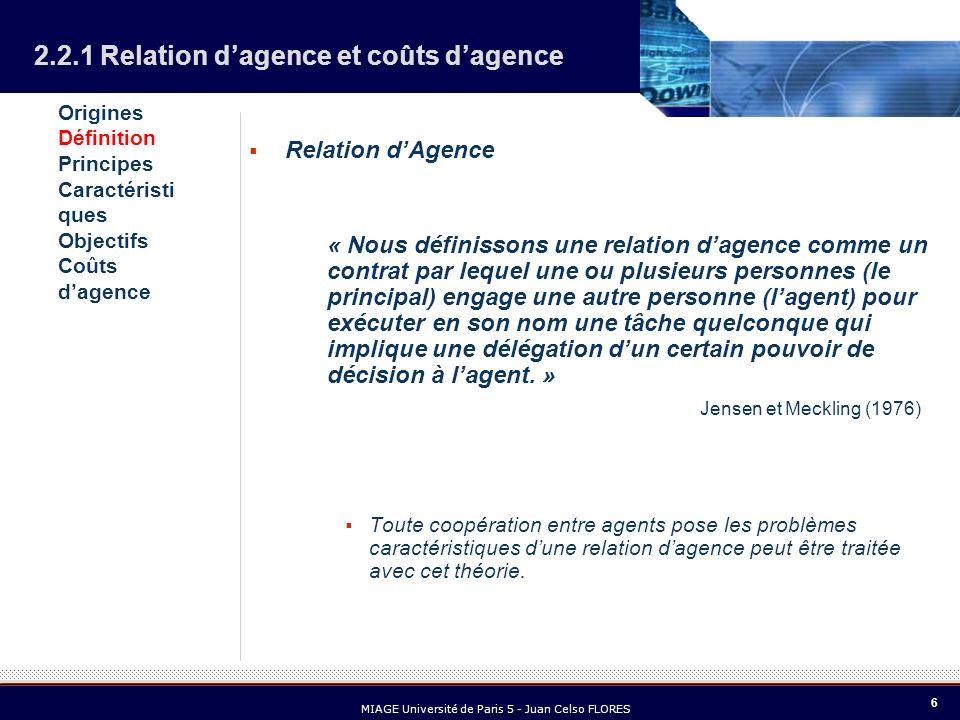 6 MIAGE Université de Paris 5 - Juan Celso FLORES Relation dAgence « Nous définissons une relation dagence comme un contrat par lequel une ou plusieur