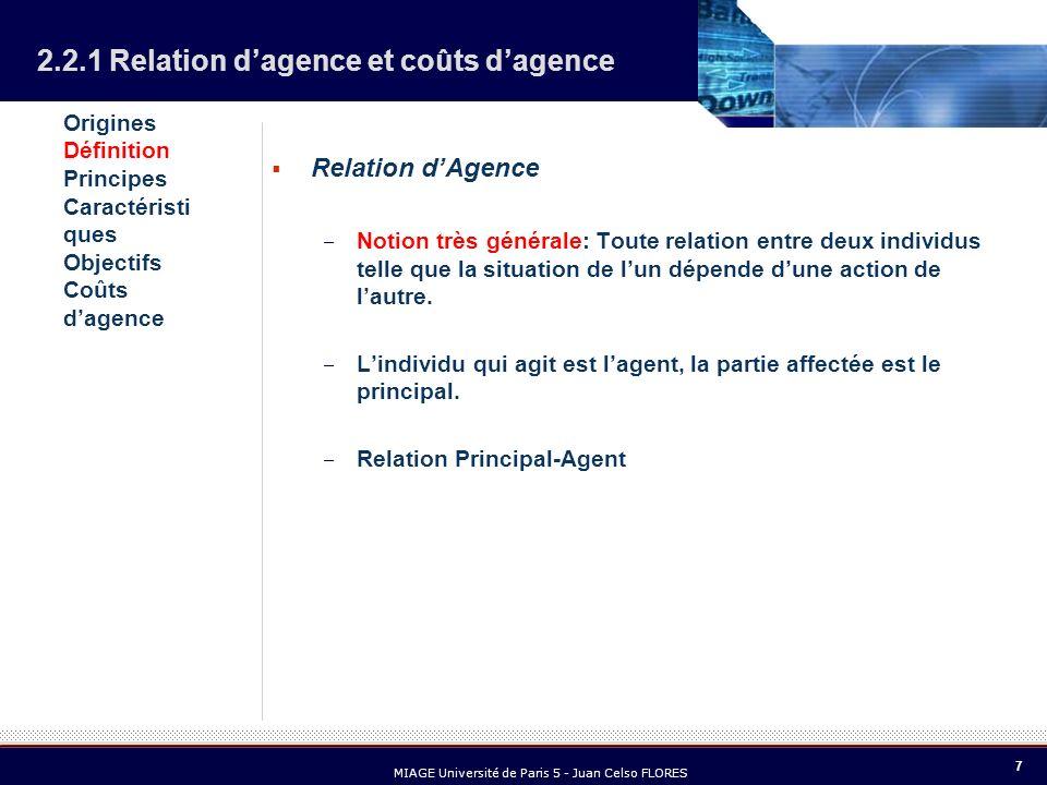 7 MIAGE Université de Paris 5 - Juan Celso FLORES Relation dAgence – Notion très générale: Toute relation entre deux individus telle que la situation