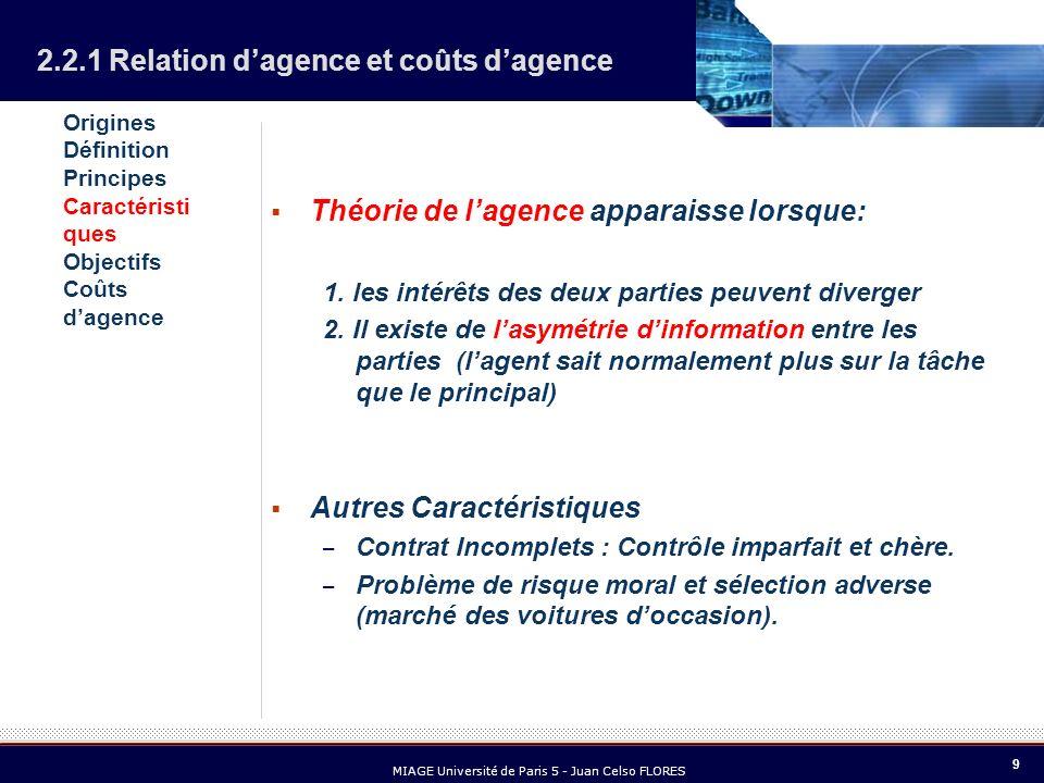 9 MIAGE Université de Paris 5 - Juan Celso FLORES Théorie de lagence apparaisse lorsque: 1. les intérêts des deux parties peuvent diverger 2. Il exist