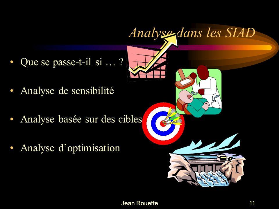 Jean Rouette11 Analyse dans les SIAD Que se passe-t-il si … ? Analyse de sensibilité Analyse basée sur des cibles Analyse doptimisation