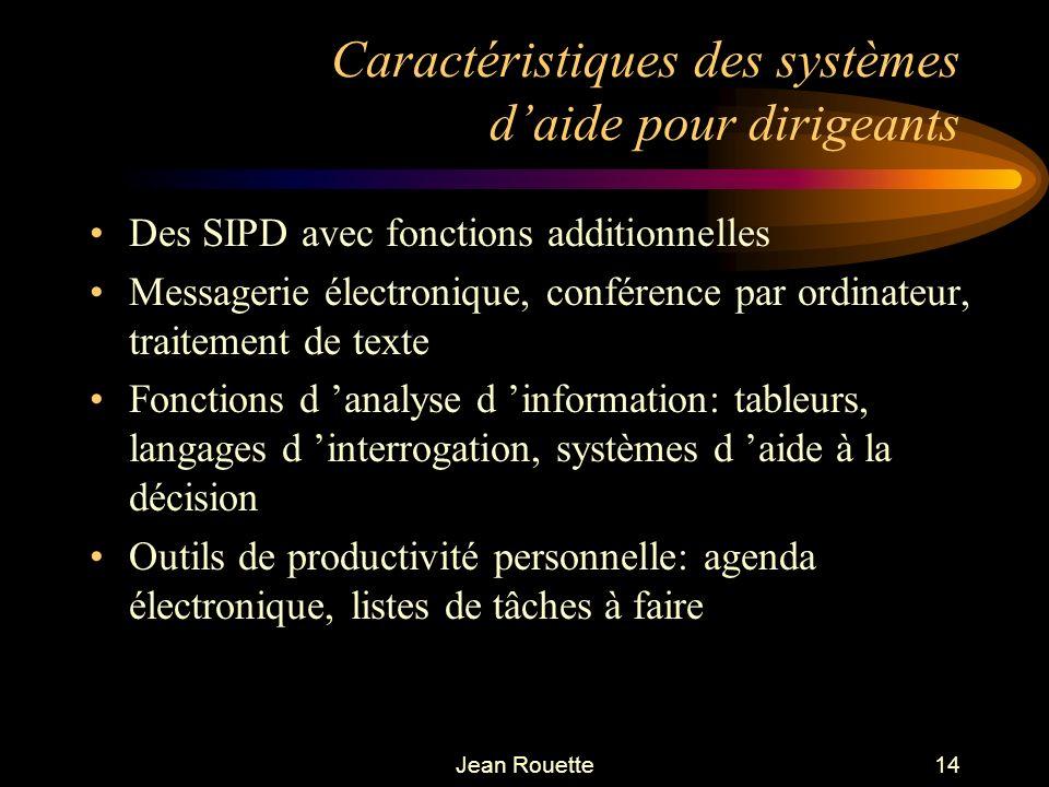 Jean Rouette14 Caractéristiques des systèmes daide pour dirigeants Des SIPD avec fonctions additionnelles Messagerie électronique, conférence par ordi