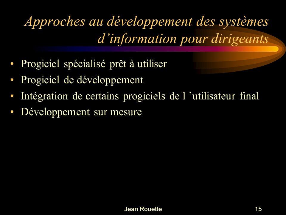 Jean Rouette15 Approches au développement des systèmes dinformation pour dirigeants Progiciel spécialisé prêt à utiliser Progiciel de développement In