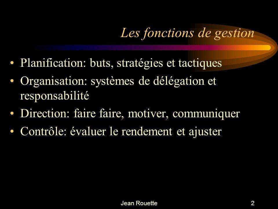 Jean Rouette2 Les fonctions de gestion Planification: buts, stratégies et tactiques Organisation: systèmes de délégation et responsabilité Direction: