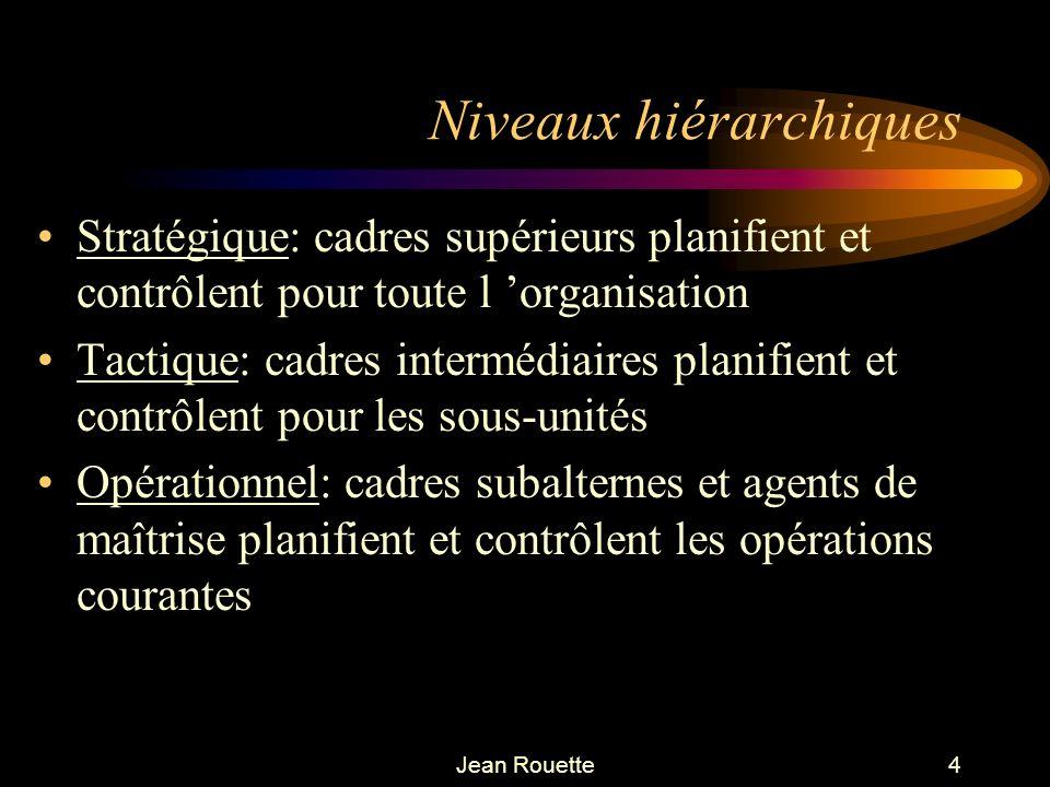 Jean Rouette4 Niveaux hiérarchiques Stratégique: cadres supérieurs planifient et contrôlent pour toute l organisation Tactique: cadres intermédiaires
