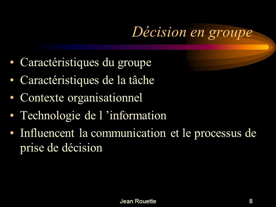 Jean Rouette8 Décision en groupe Caractéristiques du groupe Caractéristiques de la tâche Contexte organisationnel Technologie de l information Influen