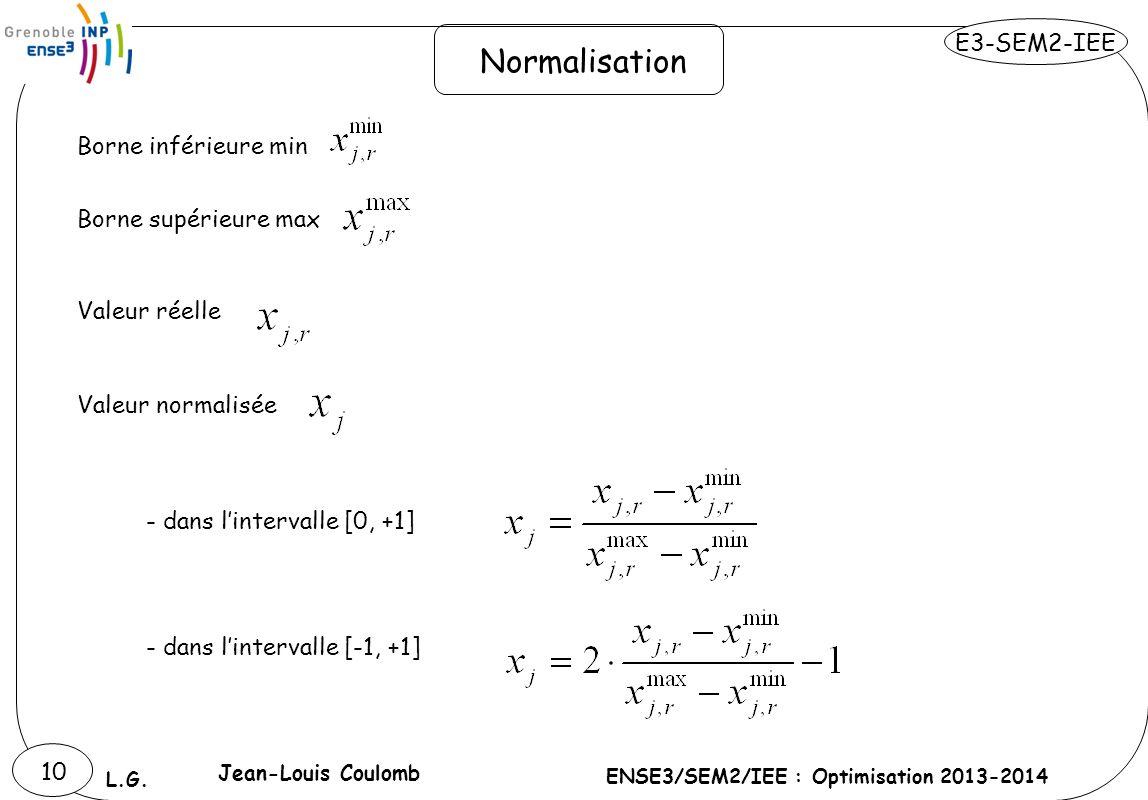 E3-SEM2-IEE ENSE3/SEM2/IEE : Optimisation 2013-2014 L.G. 10 Normalisation Borne inférieure min Borne supérieure max Valeur réelle Valeur normalisée -