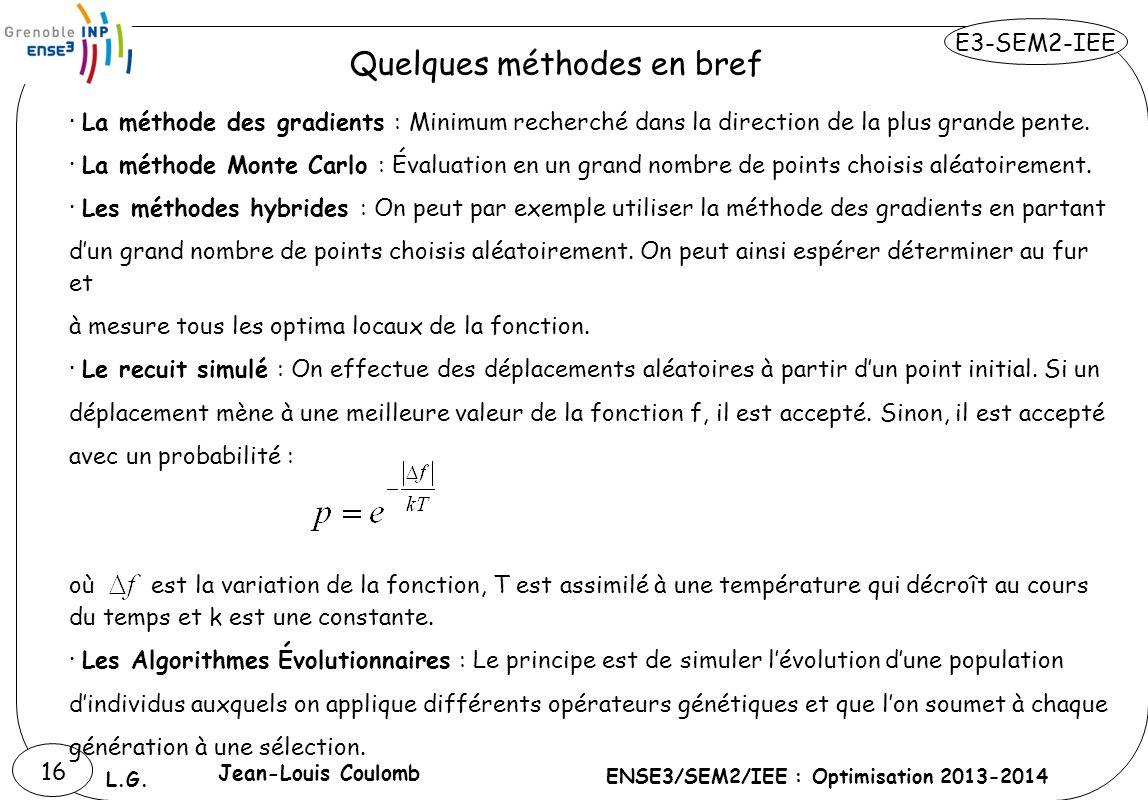 E3-SEM2-IEE ENSE3/SEM2/IEE : Optimisation 2013-2014 L.G. 16 · La méthode des gradients : Minimum recherché dans la direction de la plus grande pente.