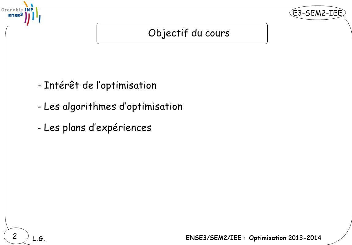 E3-SEM2-IEE ENSE3/SEM2/IEE : Optimisation 2013-2014 L.G. 2 Objectif du cours - Intérêt de loptimisation - Les algorithmes doptimisation - Les plans de
