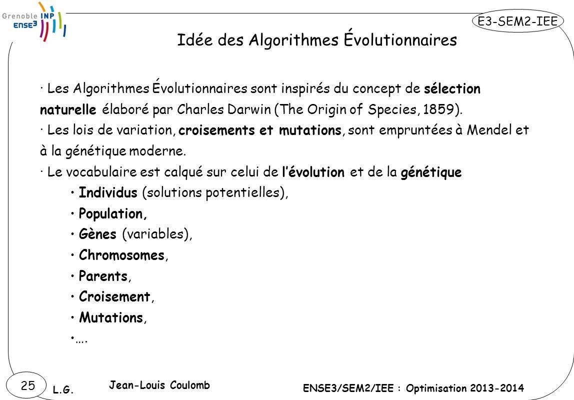 E3-SEM2-IEE ENSE3/SEM2/IEE : Optimisation 2013-2014 L.G. 25 · Les Algorithmes Évolutionnaires sont inspirés du concept de sélection naturelle élaboré