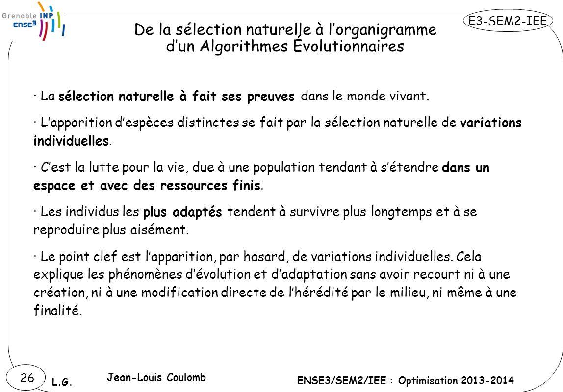 E3-SEM2-IEE ENSE3/SEM2/IEE : Optimisation 2013-2014 L.G. 26 · La sélection naturelle à fait ses preuves dans le monde vivant. · Lapparition despèces d