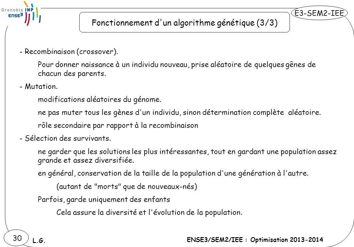 E3-SEM2-IEE ENSE3/SEM2/IEE : Optimisation 2013-2014 L.G. 30 - Recombinaison (crossover). Pour donner naissance à un individu nouveau, prise aléatoire