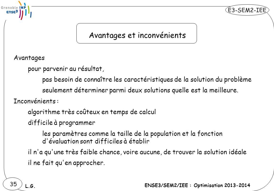 E3-SEM2-IEE ENSE3/SEM2/IEE : Optimisation 2013-2014 L.G. 35 Avantages pour parvenir au résultat, pas besoin de connaître les caractéristiques de la so