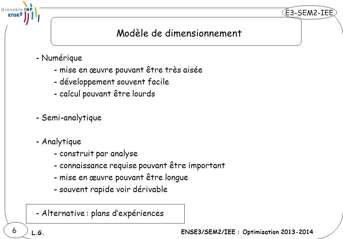 E3-SEM2-IEE ENSE3/SEM2/IEE : Optimisation 2013-2014 L.G. 6 Modèle de dimensionnement - Numérique - mise en œuvre pouvant être très aisée - développeme