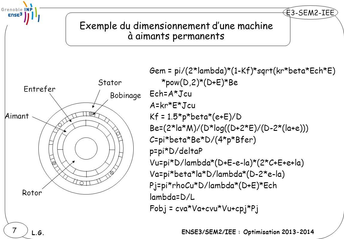 E3-SEM2-IEE ENSE3/SEM2/IEE : Optimisation 2013-2014 L.G. 7 Gem = pi/(2*lambda)*(1-Kf)*sqrt(kr*beta*Ech*E) *pow(D,2)*(D+E)*Be Ech=A*Jcu A=kr*E*Jcu Kf =