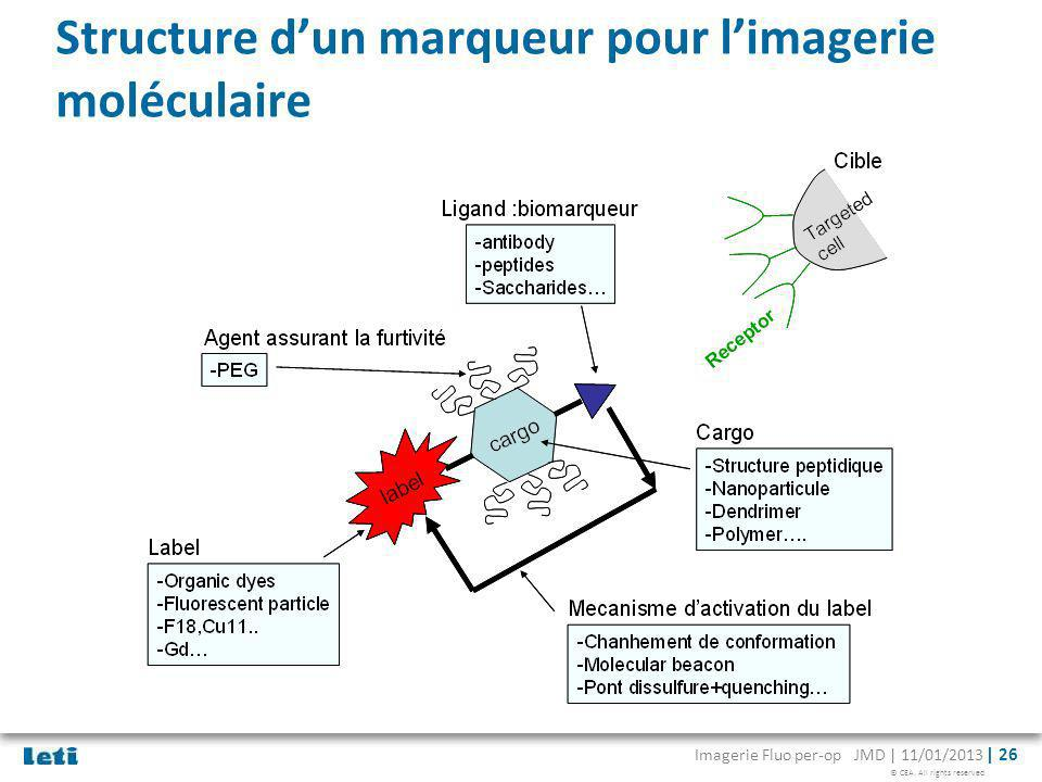 © CEA. All rights reserved Imagerie Fluo per-op JMD | 11/01/2013 | 26 Structure dun marqueur pour limagerie moléculaire