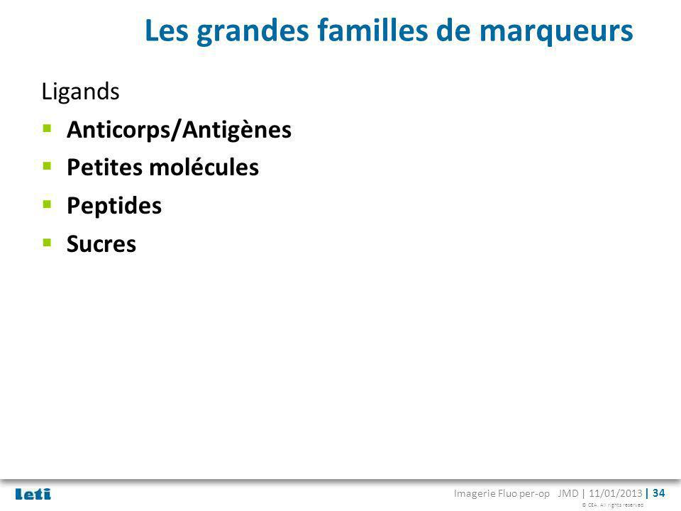 © CEA. All rights reserved Imagerie Fluo per-op JMD | 11/01/2013 | 34 Les grandes familles de marqueurs Ligands Anticorps/Antigènes Petites molécules