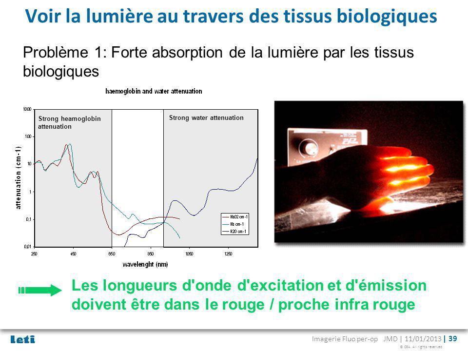 © CEA. All rights reserved Imagerie Fluo per-op JMD | 11/01/2013 | 39 Voir la lumière au travers des tissus biologiques Les longueurs d'onde d'excitat
