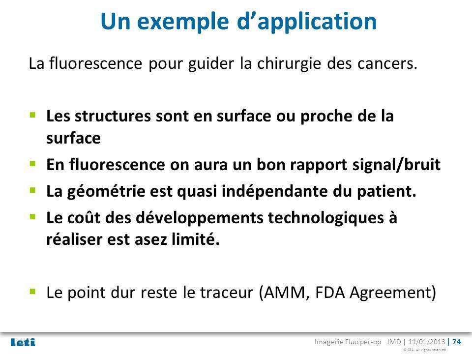 © CEA. All rights reserved Imagerie Fluo per-op JMD | 11/01/2013 | 74 Un exemple dapplication La fluorescence pour guider la chirurgie des cancers. Le