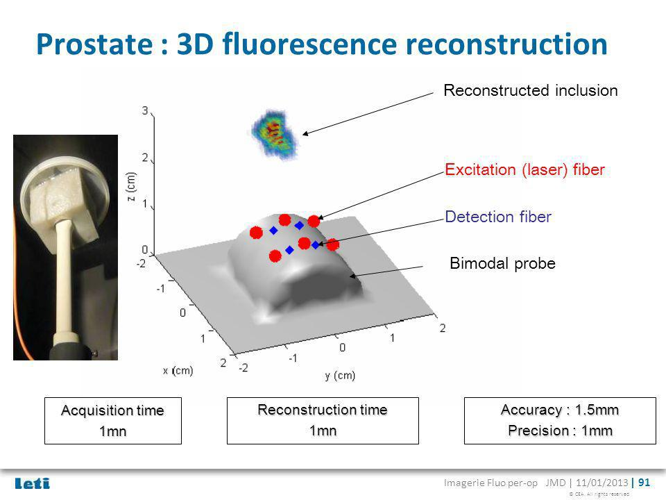 © CEA. All rights reserved Imagerie Fluo per-op JMD | 11/01/2013 | 91 Prostate : 3D fluorescence reconstruction Reconstructed inclusion Bimodal probe