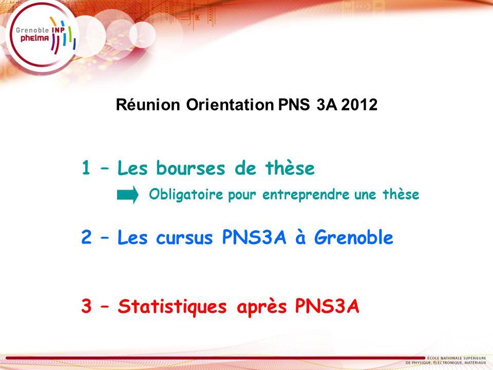 1 – Les bourses de thèse 2 – Les cursus PNS3A à Grenoble 3 – Statistiques après PNS3A Obligatoire pour entreprendre une thèse Réunion Orientation PNS