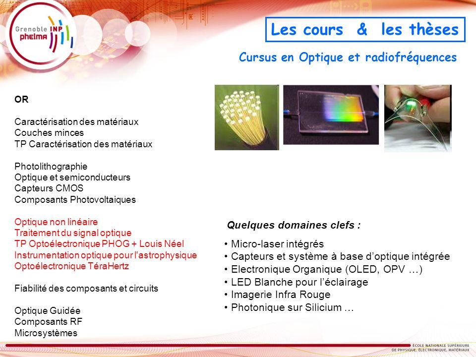Cursus en Optique et radiofréquences OR Caractérisation des matériaux Couches minces TP Caractérisation des matériaux Photolithographie Optique et sem