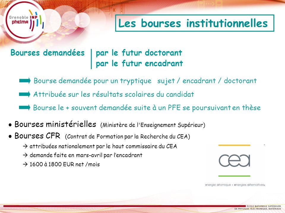 Les bourses institutionnelles Bourses ministérielles (Ministère de l'Enseignement Supérieur) Bourses CFR (Contrat de Formation par la Recherche du CEA