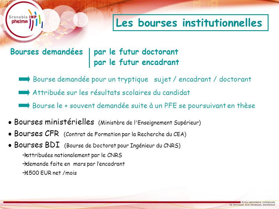 Bourses ministérielles (Ministère de l'Enseignement Supérieur) Bourses CFR (Contrat de Formation par la Recherche du CEA) Bourses BDI (Bourse de Docto