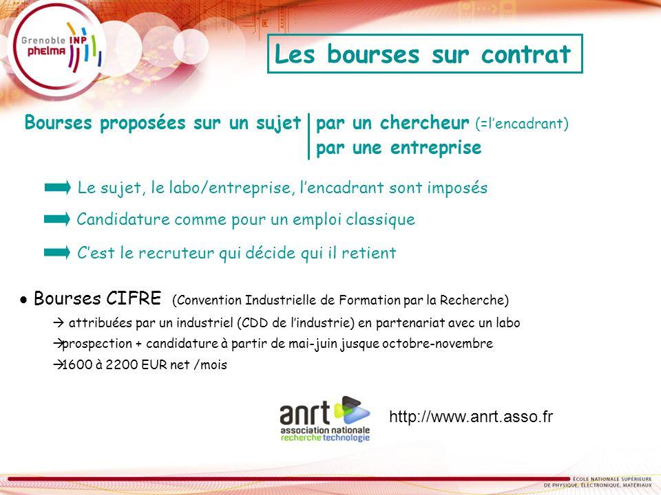 Bourses CIFRE (Convention Industrielle de Formation par la Recherche) attribuées par un industriel (CDD de lindustrie) en partenariat avec un labo pro